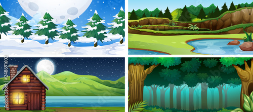 Poster Kids Set of nature landscape