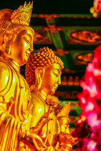 Beautiful Golden Bodhisattva Statues In Chinese Temple Thailand