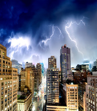New York City With Thunderstor...