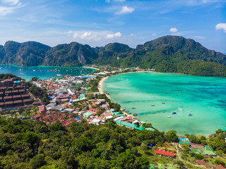 Koh Phi Phi Don - Amazing view of bay in andaman sea from View Point. Paradise coast of tropical island Phi-Phi Don. Krabi Province, Thailand. Travel vacation background.