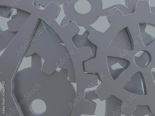 Fototapety, obrazy: A cluster of interlocking metal gears. 3D