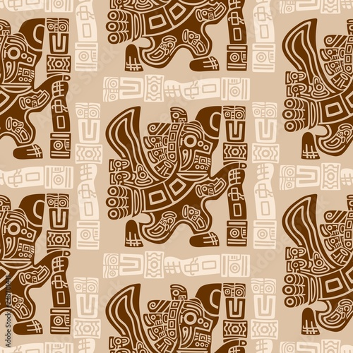 Fotobehang Draw Aztec Eagle Warrior Tribal Ancient Design Seamless Pattern