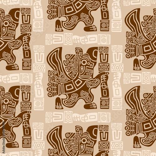 Tuinposter Draw Aztec Eagle Warrior Tribal Ancient Design Seamless Pattern