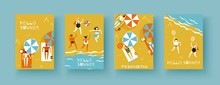 Summertime, People Men And Women Sunbathe On The Beach Under Parasols, Play Beach Volleyball And Badminton. Set Of Vector Banners Of A4 Size