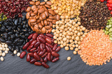 Different Dry Legumes For Healthy, Top View Multicolor Dried Bean On Table Top