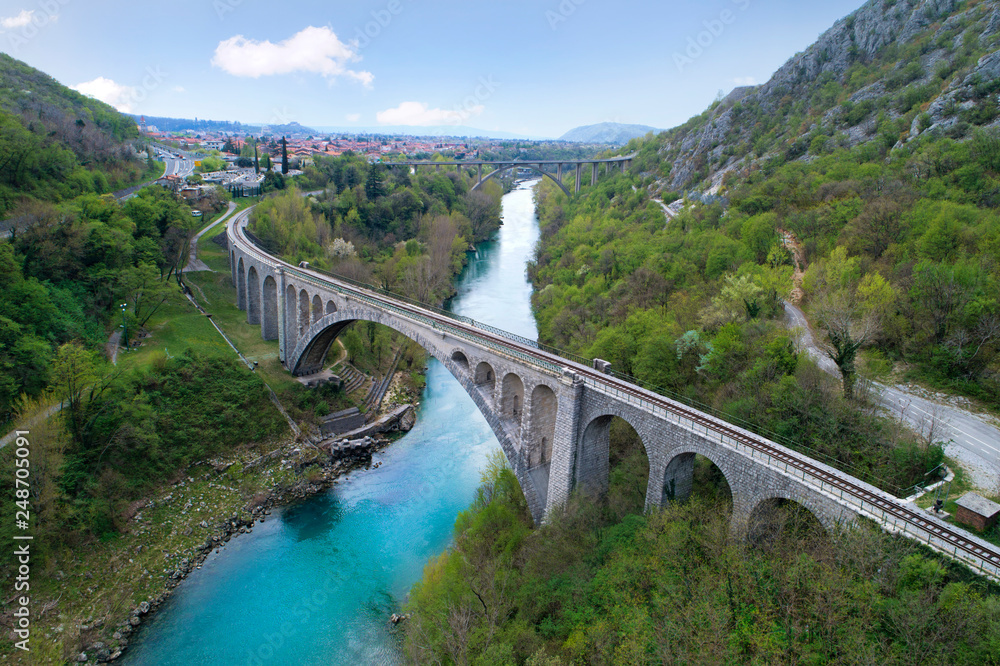 Solkan bridge over Soča river