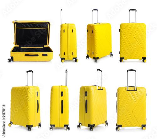 Fotografia Set of stylish yellow suitcase for travelling on white background