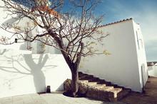Mediterranean Traditional Architecture In Ibiza: Beautiful Church Of Santa Eularia Des Riu In Ibiza Spain - Image