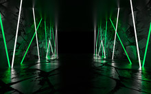 Background Of Empty Room, Concrete Floor And Walls, Tiles. Multicolored Laser Lines, Neon Light, Smoke