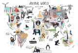 Fototapeta Fototapety na ścianę do pokoju dziecięcego - Animal World Map - cute cartoon hand drawn nursery print in scandinavian style. Vector illustration