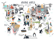 Animal World Map - Cute Cartoon Hand Drawn Nursery Print In Scandinavian Style. Vector Illustration