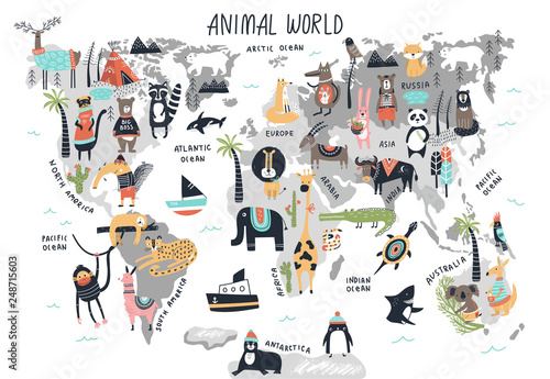 Fototapeta Animal World Map - cute cartoon hand drawn nursery print in scandinavian style. Vector illustration obraz