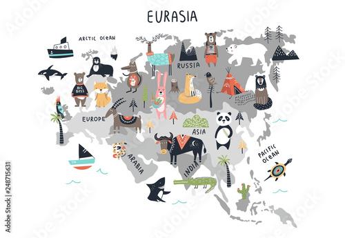 Fototapeta mapa świata dla dzieci  mapa-swiata-zwierzat-kontynent-eurazja-kreskowka-recznie-rysowane-druk-przedszkola-w-skandynawskim
