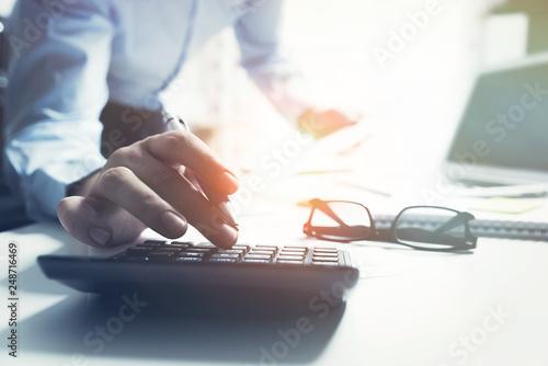 Fototapeta Accountant calculate tax information obraz