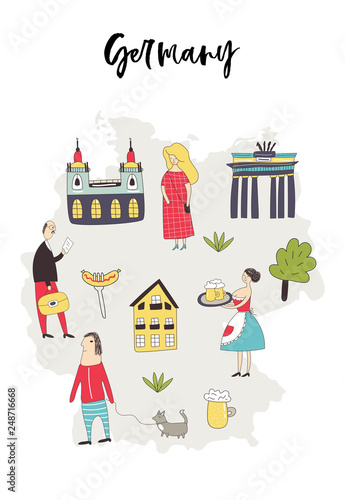 Cartoon Map Of Germany.Illustrated Map Of Germany With Cute And Fun Hand Drawn Characters