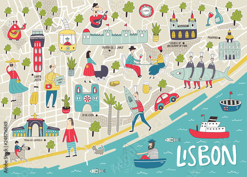 Illustrated Map of Lisbon with cute and fun hand drawn characters, local plants and elements Wallpaper Mural