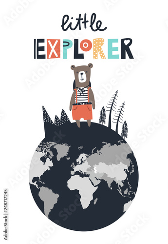 Fotografía Little explorer - cute and fun hand drawn nursery poster with lettering and little bear on the globe