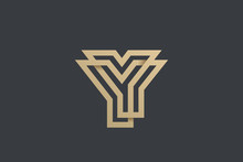 Letter Y Logo Gold Geometric Font Design Vector Template Linear Style. Infinite Looped Color Line Monogram Logotype Concept Icon.