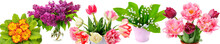 Tulips, Lilies Of The Valley, Lilac And Primroses Isolated On White Background. Beautiful Tulips, Lilies Of The Valley, Lilac And Primroses Isolated On White Background.