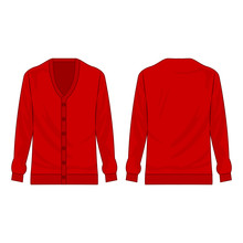 Red Basic Cardigan With Buttons Isolated Vector On The White Background