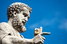 Vatican City, October 03, 2018: Statue Of Saint Peter Holding A Key