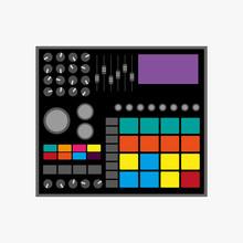 Drum Machine. Vector Illustration. Flat Icon, Logo.
