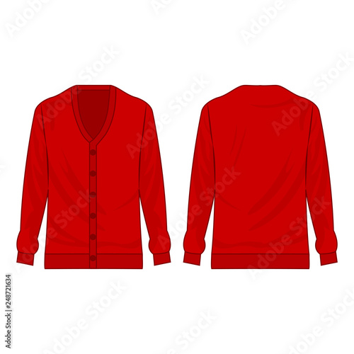 Fotografía  red basic cardigan with buttons isolated vector on the white background