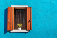 Picturesque Window In Blue Col...