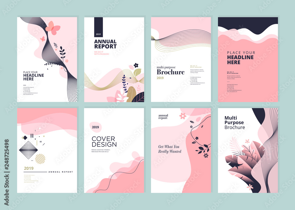 Fototapeta Set of brochure, annual report and cover design templates for beauty, spa, wellness, natural products, cosmetics, fashion, healthcare. Vector illustrations for business presentation, and marketing.