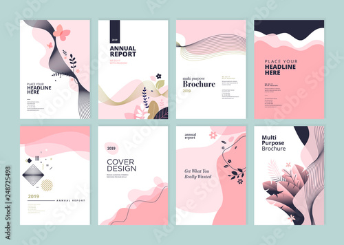 Set of brochure, annual report and cover design templates for beauty, spa, wellness, natural products, cosmetics, fashion, healthcare. Vector illustrations for business presentation, and marketing. - fototapety na wymiar