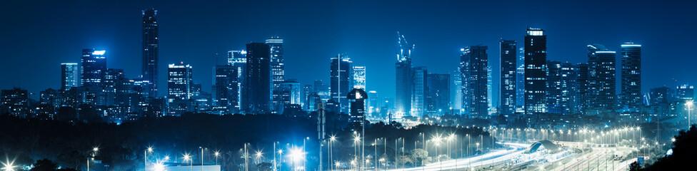 Panorama Miasta Tel Awiwu I Autostrady Ayalon W Nocy