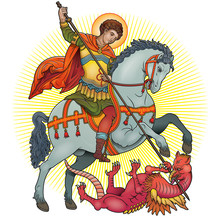 Saint George On Horse Slaying ...