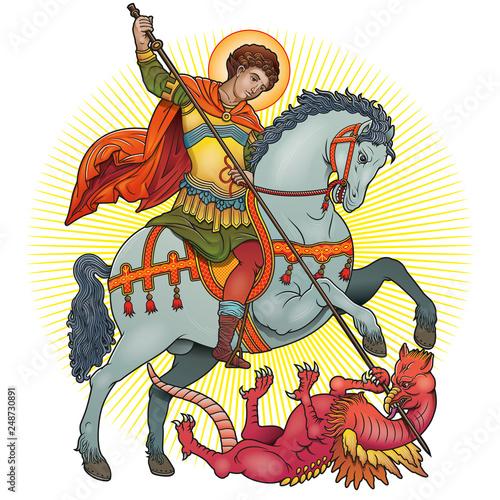 Fototapeta Saint George on horse slaying a dragon vector illustration