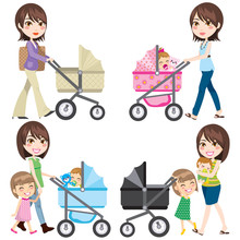 Mom With Stroller Walking In Different Clothing With Baby And Daughter