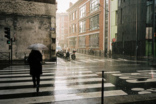 Woman With Umbrella Walking In...