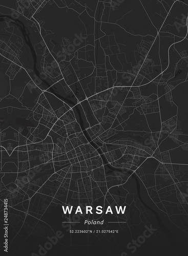 Map of Warsaw, Poland Canvas Print
