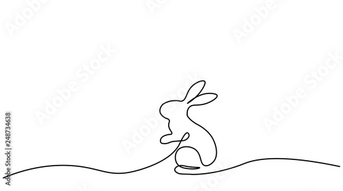 Tableau sur Toile Bunny isolated on white background one line drawing, vector illustration