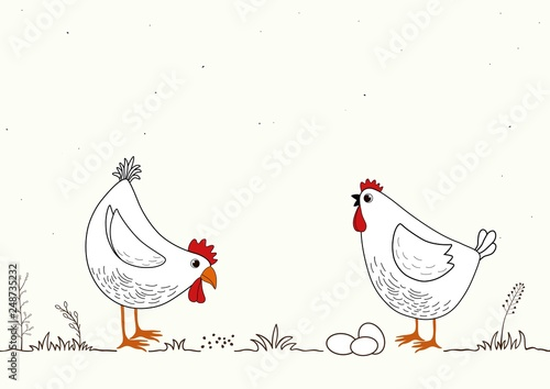 Canvas Print Card with two funny cartoon chickens