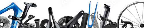 Photo road racing bicycle wide panorama with various carbon and metal parts