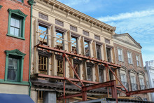 Wall Support On An Old Building Facade For A Historic Preservation Construction Project In Downtown Charleston, South Carolina