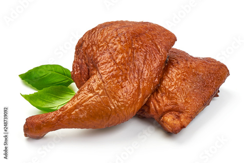 Fotobehang Kip Traditional Smoked Chicken legs with basil, close-up, isolated on white background