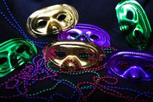 Mardi Gras Masks And Beads On ...