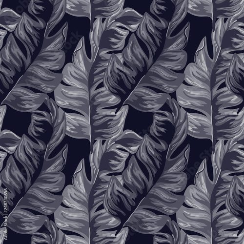 Photo sur Aluminium Aquarelle avec des feuilles tropicales Tropical seamless pattern with indigo banana leaves on blue background. Floral background with exotic leaves.