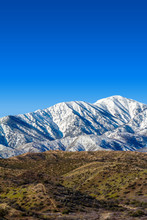 Vertical Image Of The Snow Covered San Gabriel Mountains In The Angeles National Forest In Southern California