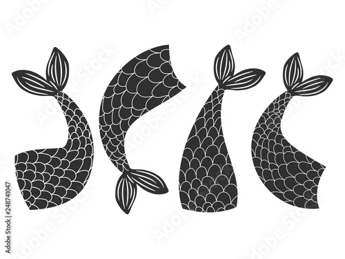 Black and white vector fishes, mermaids tails collection Canvas Print