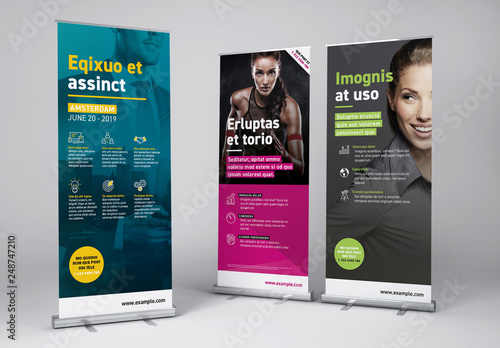Roll Up Advertising Banner Set Icons Included Acheter Ce
