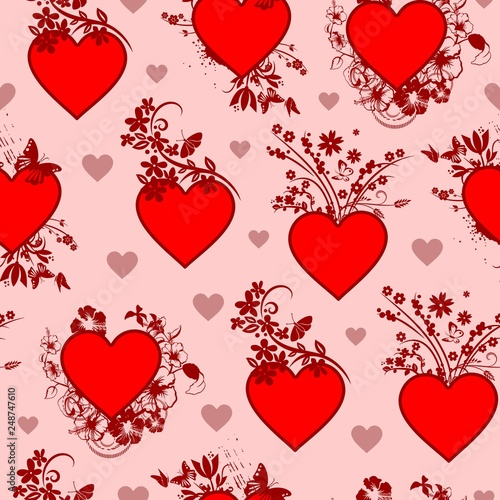 Photo sur Toile Draw Valentine's Day Vintage Floral Heart Seamless Pattern