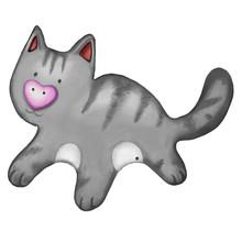 Cartoon Gray Cat Hand Drawn Watercolor