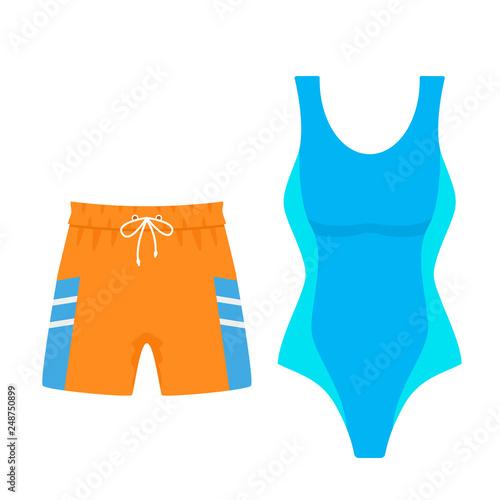Obraz Set of women's swimsuit and men's swimming trunks shorts for swimming. vector illustration isolated - fototapety do salonu
