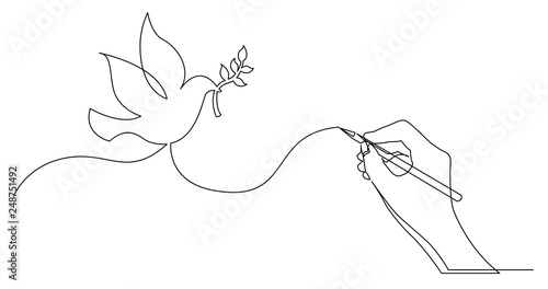 hand drawing business concept sketch of peace dove with brunch Fototapet